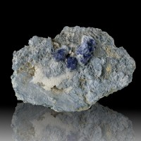 "2.5"" Rich RoyalBlue Gem BENITOITE 14 Crystals to 6mm Dallas Gem Mine CA for sale"