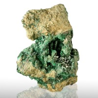 "3.5"" Sharp White CERUSSITE Crystals on Bright Green MALACHITE Tsumeb for sale"