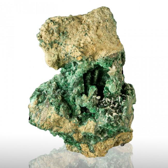 "3.5"" Sharp White CERUSSITE Crystals on Bright Green MALACHITE Tsumeb for sale"
