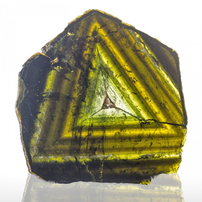 "6.6"" 1170ct Polished Slice MultiColor Triangles LIDDICOATITE TOURMALINE for sale"
