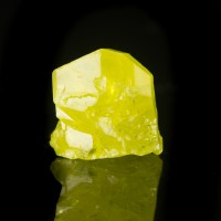 "1.4"" Glassy Flashy SULFUR Sharp Lustrous Twinned Crystal Sicily Italy for sale"