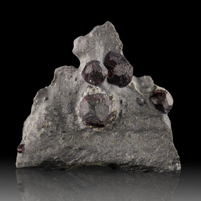 "2.4"" Glowing Molten Red Gem ALMANDINE GARNET 7 Crystals in GRAPHITE MA for sale"