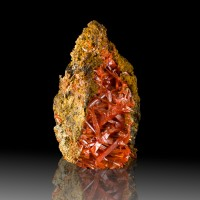 "3.7"" Red Orange SquareHollowCROCOITE Crystals CrissCrossingVugAdelaide"