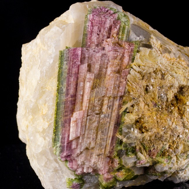 "4.7"" Red&Green WATERMELON TOURMALINE Crystal in 5"" Quartz Matrix Brazil for sale"