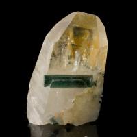"1"" Blue INDICOLITE TOURMALINE Crystal in 2.7"" Terminated QUARTZ Brazil for sale"