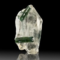 "1.8"" Blue Green TOURMALINE Crystals on Double Terminated QUARTZ Brazil or sale"