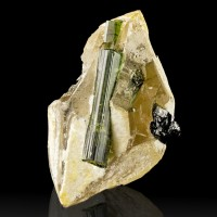 "2.3"" GREEN TOURMALINE Crystals in Doubly Terminated SMOKY QUARTZ Brazil for sale"
