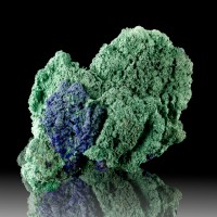 """3.4"""" Sparkling Navy Blue AZURITE on Green MALACHITE Crystals Morocco for sale"""
