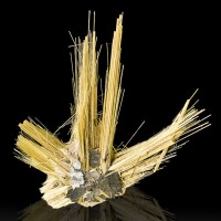 "1.3"" RUTILE/HEMATITE SUNBURST Long Spiky Metallic Gold Crystals Brazil for sale"