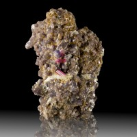 "4.5"" Startling NeonPink TOURMALINE CRYSTALS on Purple Lepidolite Brazil for sale"