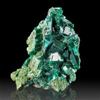 "2.3"" Stunning Very Sharp DarkGreen DIOPTASE Wet-Look .6"" Crystals Congo for sale"