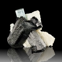 "2.2"" Clear Gem Blue AQUAMARINE .8""Crystal w/SCHORL+Microcline Namibia for sale"