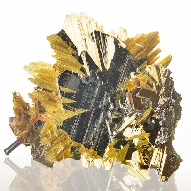 "1.3"" Golden Yellow Radiating RUTILE+HEMATITE SUNBURST Crystals Brazil for sale"