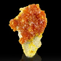"1.8"" Glowing RedOrange ORPIMENT Crystals on Matrix Red Hot Color Russia-for sale"