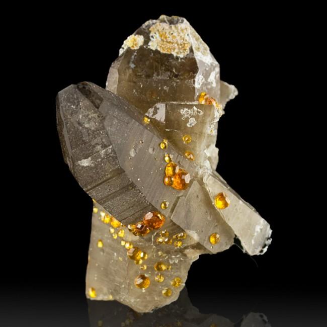 "2.4"" Tangerine Orange SPESSARTINE GARNET on Smoky Quartz Crystals China for sale"