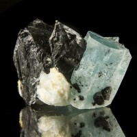 "1"" Vivid Blue AQUAMARINE Crystal w/Black Schorl on 1.8"" Matrix Namibia for sale"