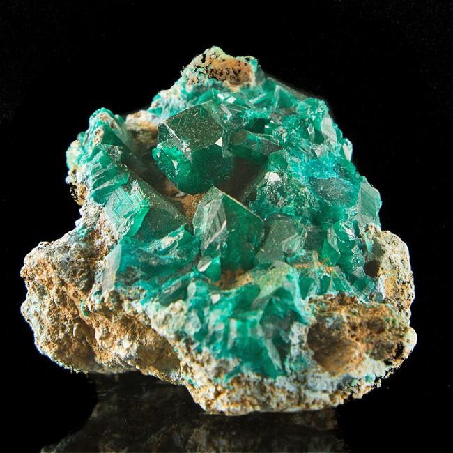 "2"" Sharp Shiny Dark Green Gem DIOPTASE Crystals to .6"" on Matrix Congo for sale"