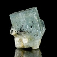 "1.6"" AQUAMARINE Crystals Gem Prisms w/Black Tourmaline on Tips Namibia for sale"