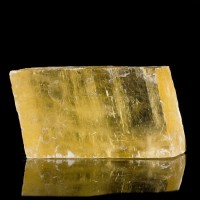 "5.9"" Sunny Yellow ICELAND SPAR Crystal Rhomb Rainbows Brazil for sale"
