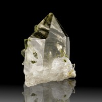 "2.0"" Gem Clear QUARTZ Crystal Impaled by GREEN EPIDOTE Crystals Brazil for sale"