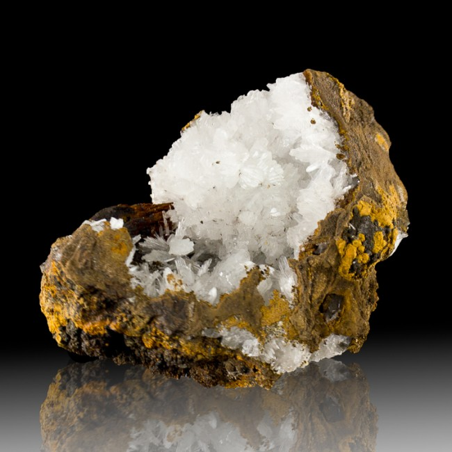 """5.1"""" Clear Crystal Flowers of HEMIMORPHITE on Limonite Matrix Mexico for sale"""