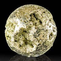 "3.5"" Brassy Gold PYRITE BALL Polished with Shiny Crystals in Vugs Peru for sale"