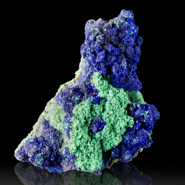 """2.1"""" Sharp Navy Blue AZURITE Crystals on Bright Green MALACHITE Morocco for sale"""