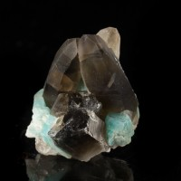 "1.4"" Brite Turquoise AMAZONITE w/SMOKY QUARTZ Crystal SmokyHawkClaim CO for sale"