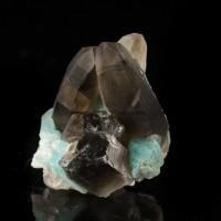 """1.4"""" Brite Turquoise AMAZONITE w/SMOKY QUARTZ Crystal SmokyHawkClaim CO for sale"""