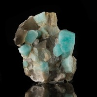"1.6"" Gray SMOKY QUARTZ on Turquoise Blue AMAZONITE Smoky Hawk Claim CO for sale"