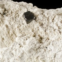 "10mm Sharp Metallic Black BIXBYITE on 3.6"" White Rhyolite Matrix Utah for sale"