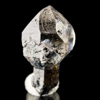 ".9"" SCEPTERED HERKIMER DIAMOND Gem ClearCap on BlackStem Treasure Mt NY for sale"
