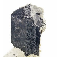 "2.7"" Flashy Mirror-Bright BLACK TOURMALINE Crystal on Creamy Microcline for sale"