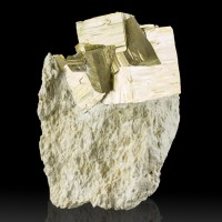 "3.1"" Matrix Piece with 12 Brassy Golden PYRITE Crystals Navajun Spain for sale"