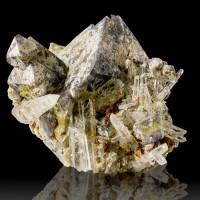 """1.7"""" Brown Octahedral SCHEELITE Crystals w-Clear Quartz Fluoresces Peru for sale"""