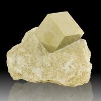 "2.3"" PYRITE CUBE RazorSharp Flashy Crystal on 4.3"" Matrix Navajun Spain for sale"