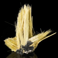 "1.6"" Golden Crystal Needles of RUTILE Growing from ShinyHEMATITE Brazil for sale"