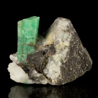 """2"""" Grass Green EMERALD Sharp Shiny Twin Crystals in Smoky Quartz China for sale"""