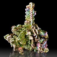 "3.1"" BISMUTH Fine Bright Rainbow Kaleidoscope Hoppered Crystals Germany for sale"