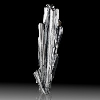 "2.4"" Dramatic Radiation Bouquet Gray Terminated STIBNITE Crystals China for sale"