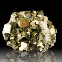 """5.9"""" Bright Brassy GOLDEN PYRITE Sharp Cubic Crystals w-Quartz China for sale"""