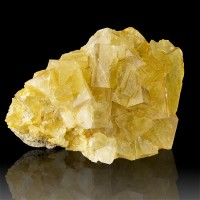 "4.4"" Glassy Yellow See-Through FLUORITE Cubic Crystals to 1"" France for sale"