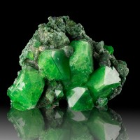 "4.6"" Emerald Green WetLook Gemmy ALUM Crystals to 1.6"" on Matrix Poland for sale"