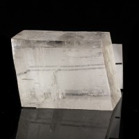 "4.4"" Clear ICELAND SPAR DoubleRefracting Calcite Rhombohedron Chihuahua for sale"
