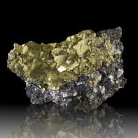 "5.4"" Shiny Metallic Golden CHALCOPYRITE Crystals over GALENA Missouri for sale"