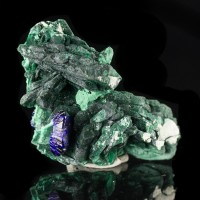 "2.3"" Shiny Blue AZURITE Crystals with Green Malachite Milpillas Mexico for sale"