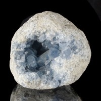 "6.3"" TurquoiseBlue CELESTITE GEODE Lined w-Pristine Crystals Madagascar for sale"