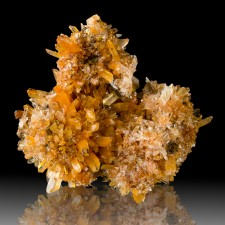 "3.2"" Orange-Red-Clear CREEDITE Cluster of Glittery Crystal Balls Mexico for sale"