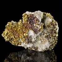 "3.8"" Gold Iridescent CHALCOPYRITE Crystals with Magenta+Purple Missouri for sale"