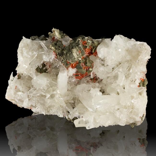 "4.8"" Flashy Red REALGAR Crystals on Terminated QUARTZ & PYRITE Peru for sale"